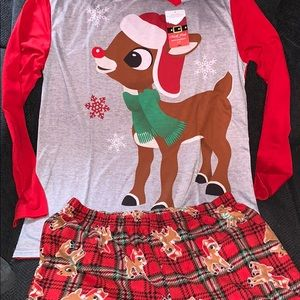 Brand new Rudolph the reindeer pajama set